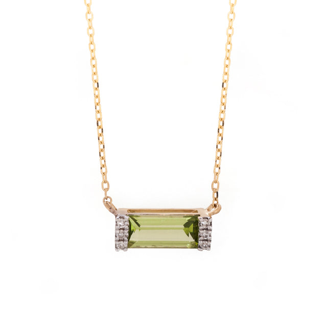 East West Peridot and Diamond Necklace 14k Yellow Gold
