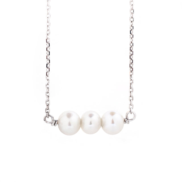 Three Pearl Freshwater Necklace 14k White Gold