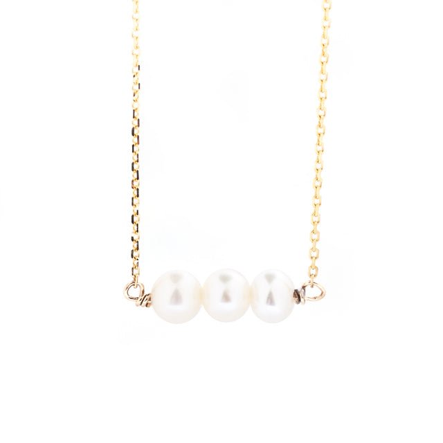 Three Pearl Freshwater Necklace 14k Yellow Gold