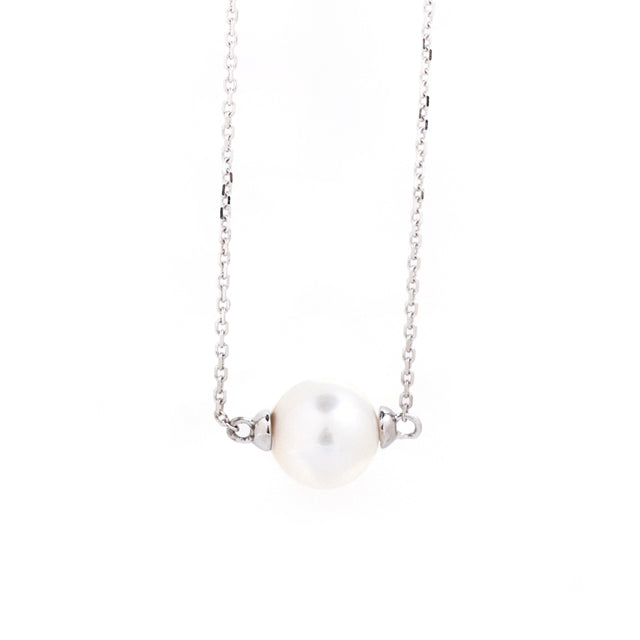 Freshwater Pearl East West Necklace 14k White Gold