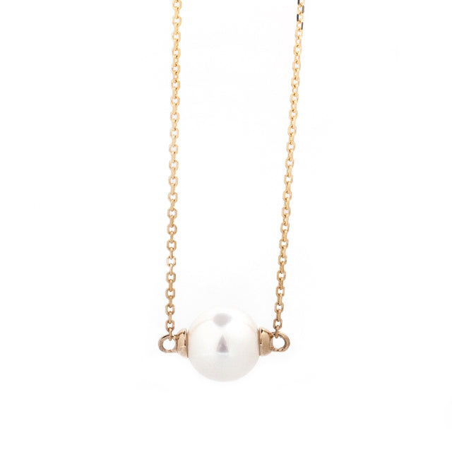 Freshwater Pearl East West Necklace 14k Yellow Gold