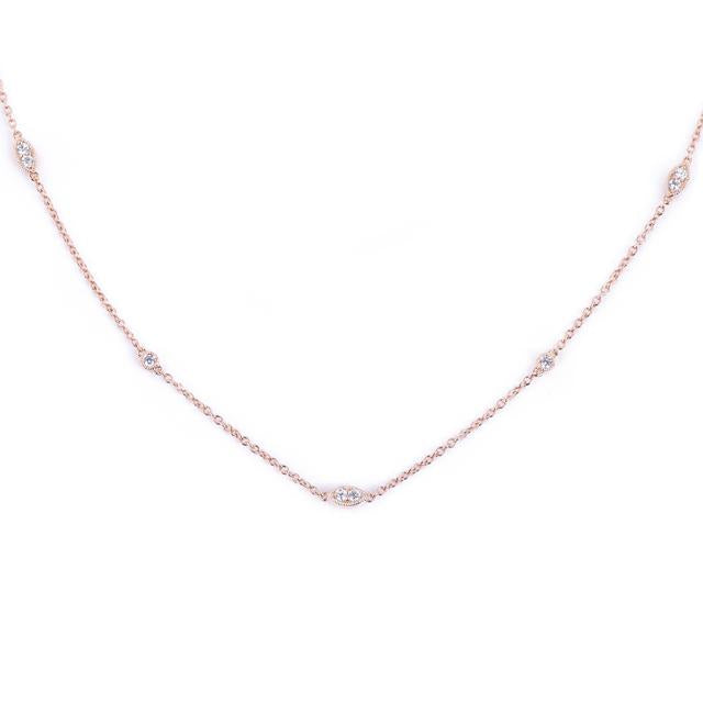 Diamonds by the yard illusion marquis and round necklace 14k rose gold