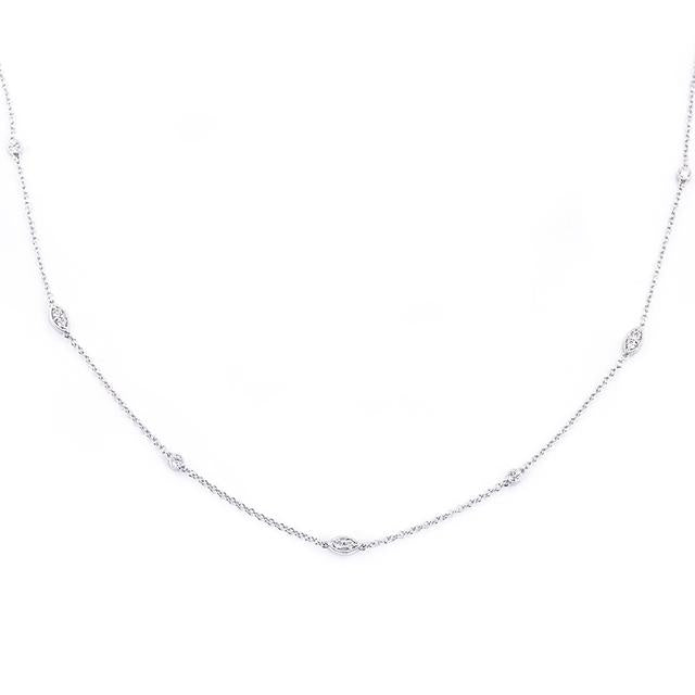 Diamonds by the yard illusion marquis and round necklace 14k white gold