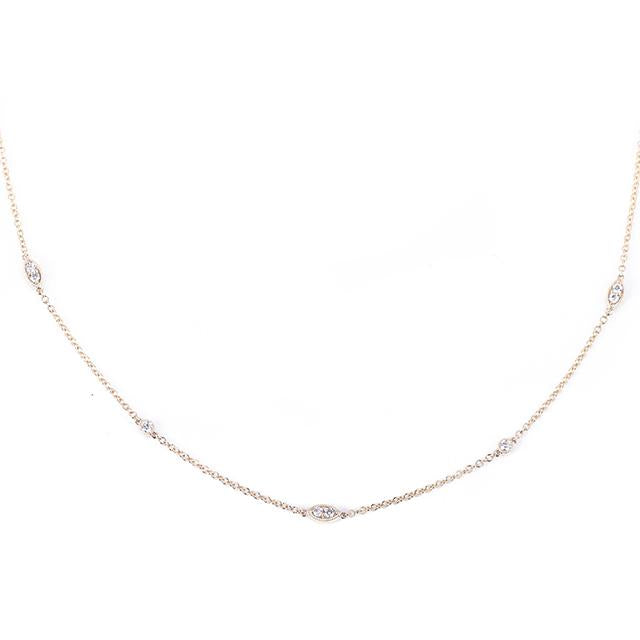 Diamonds by the yard illusion marquis and round necklace 14k yellow gold
