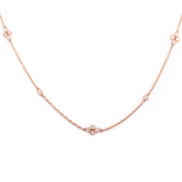 Clover Diamond Station Necklace 14k Rose Gold