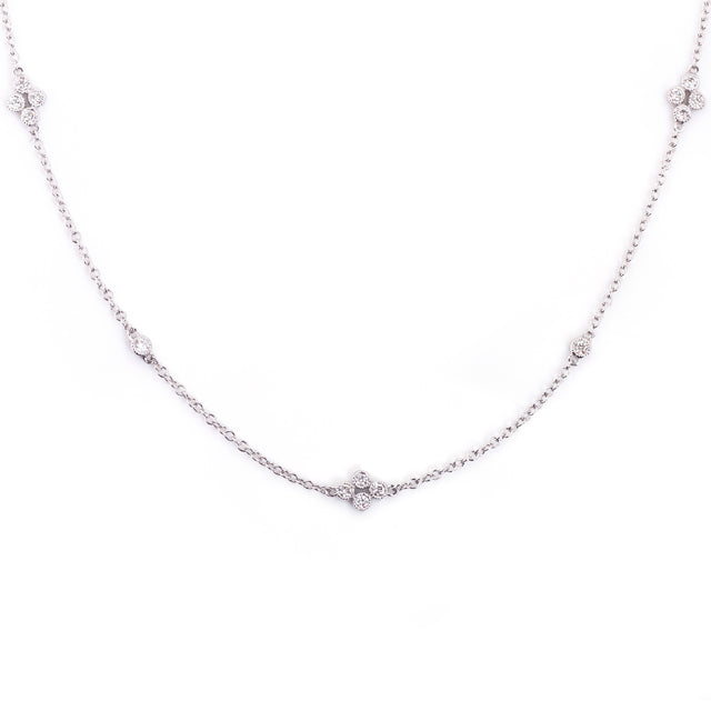 Clover Diamond Station Necklace 14k White Gold