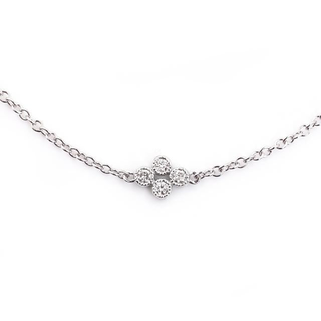 Clover Diamond Station Necklace with Milgrain