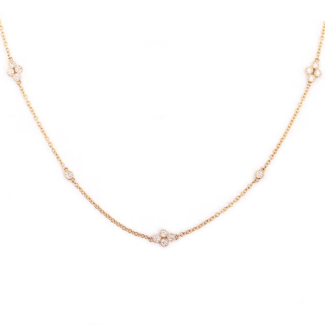 Clover Diamond Station Necklace 14k Yellow Gold