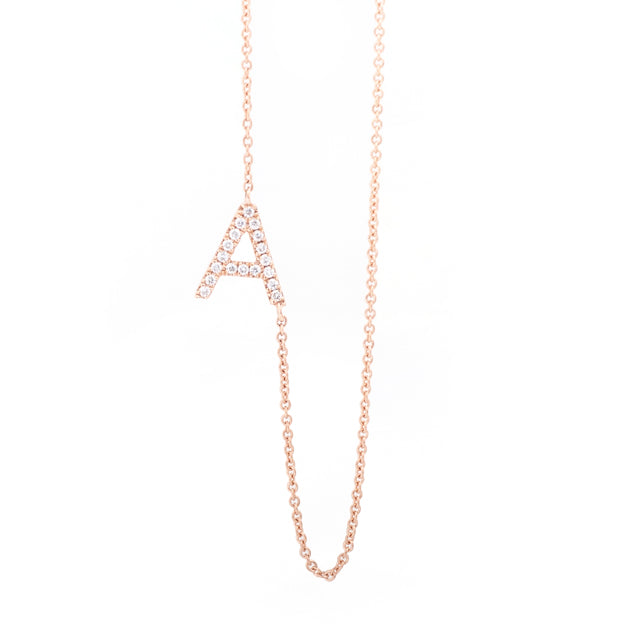 Diamond Letter A Monogram Necklace 14k Rose Gold