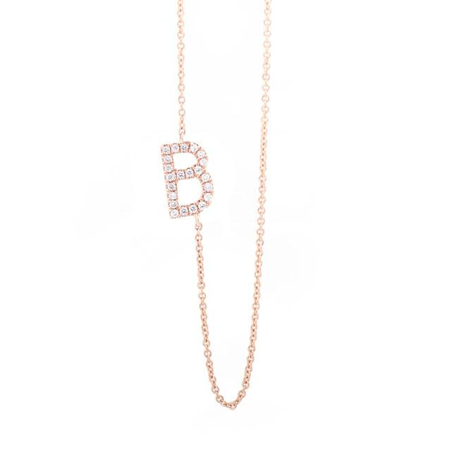 Diamond Letter B Monogram Necklace 14k Rose Gold