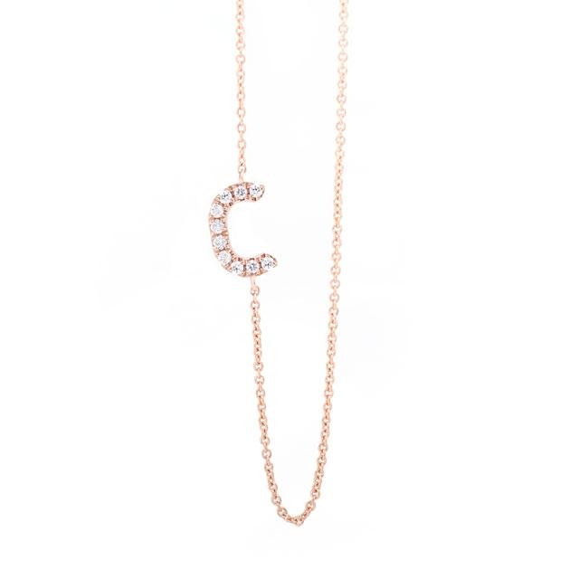 Diamond Letter C Monogram Necklace 14k Rose Gold