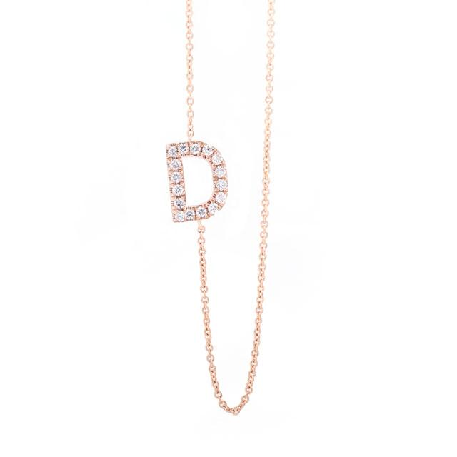 Diamond Letter D Monogram Necklace 14k Rose Gold