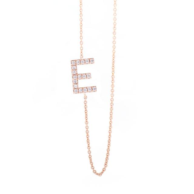 Diamond Letter E Monogram Necklace 14k Rose Gold