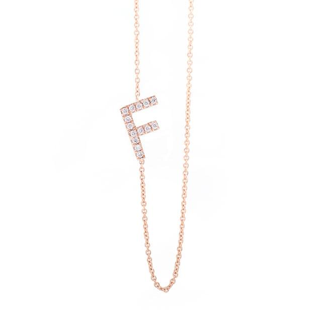Diamond Letter F Monogram Necklace 14k Rose Gold