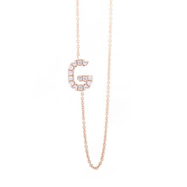 Diamond Letter G Monogram Necklace 14k Rose Gold