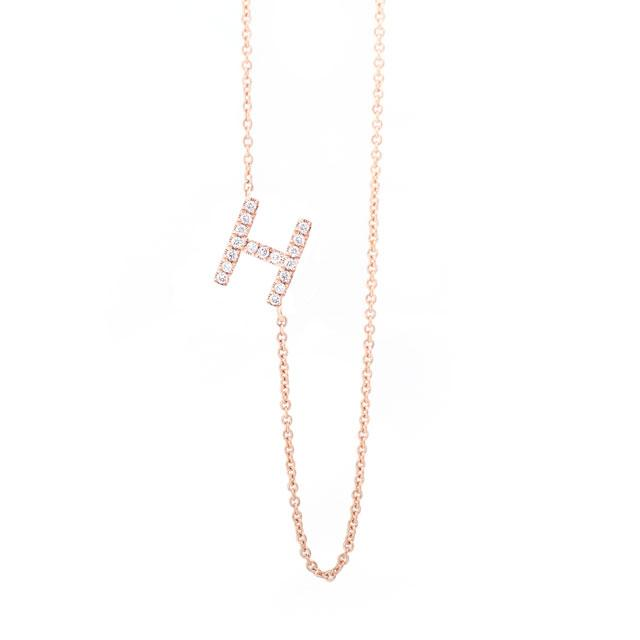 Diamond Letter H Monogram Necklace 14k Rose Gold