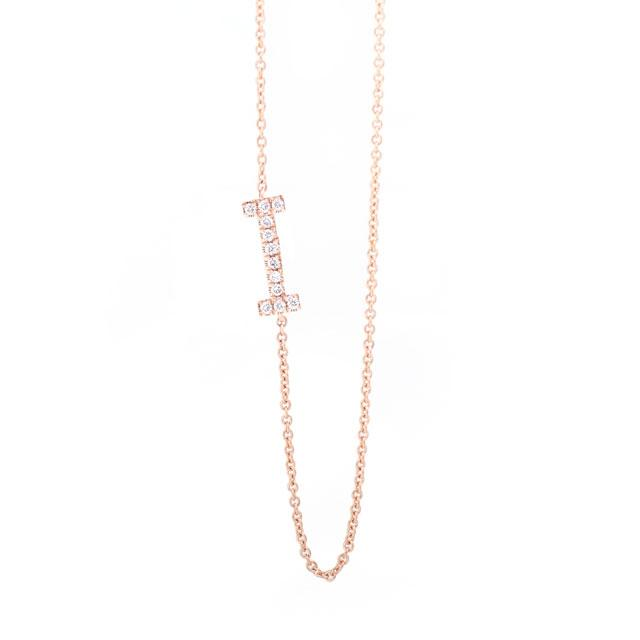 Diamond Letter I Monogram Necklace 14k Rose Gold