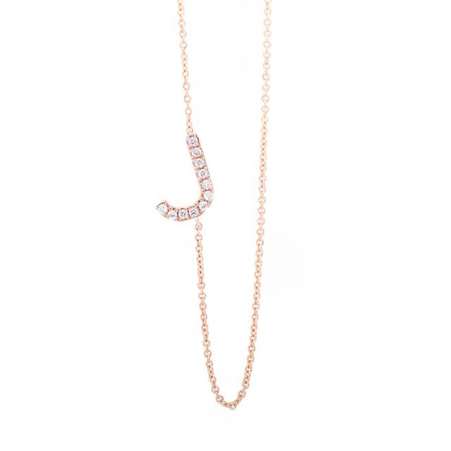 Diamond Letter J Monogram Necklace 14k Rose Gold