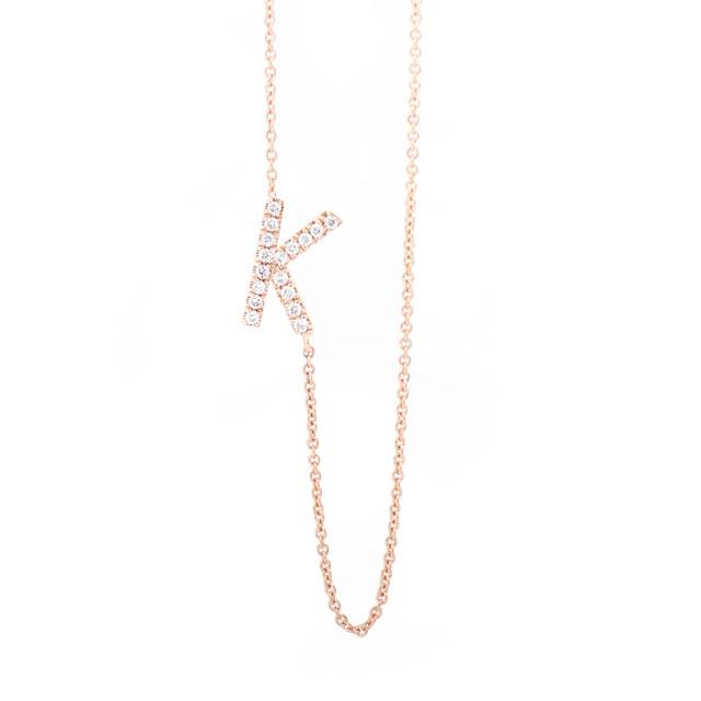 Diamond Letter K Monogram Necklace 14k Rose Gold