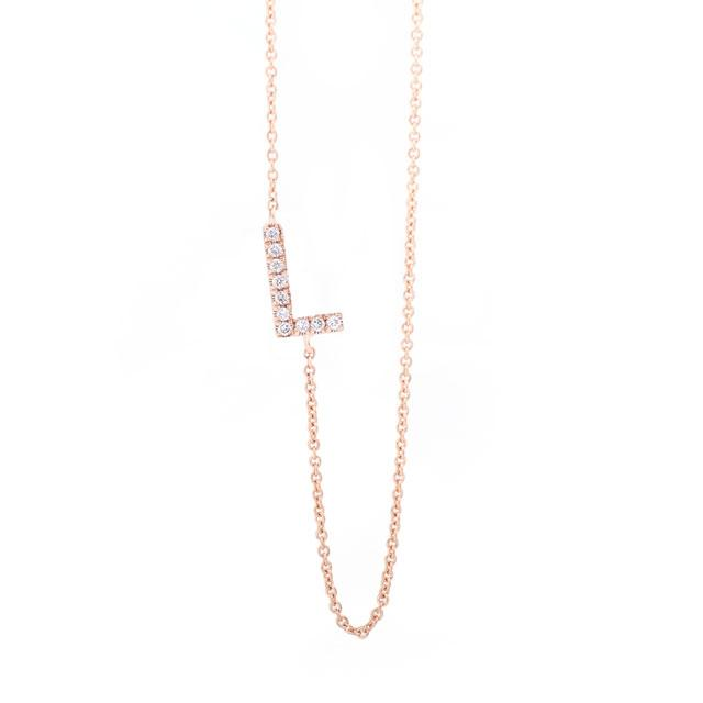 Diamond Letter L Monogram Necklace 14k Rose Gold