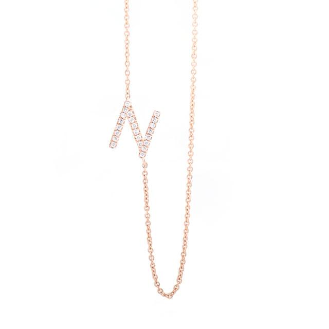 Diamond Letter N Monogram Necklace 14k Rose Gold