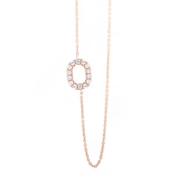 Diamond Letter O Monogram Necklace 14k Rose Gold