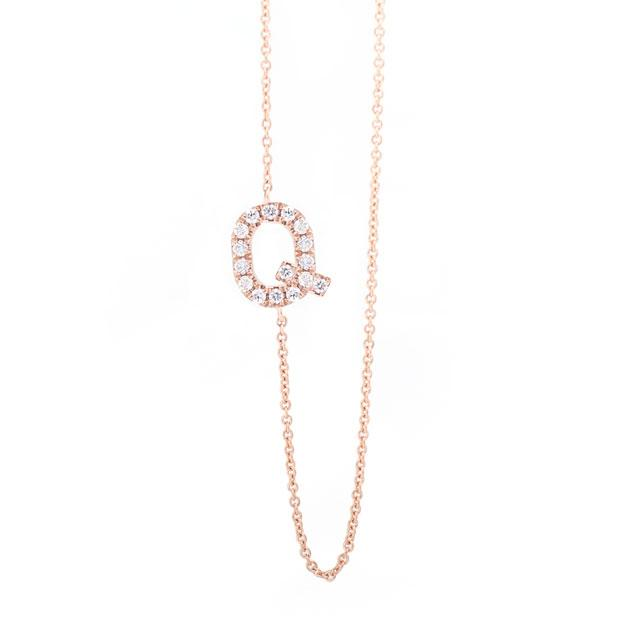 Diamond Letter Q Monogram Necklace 14k Rose Gold