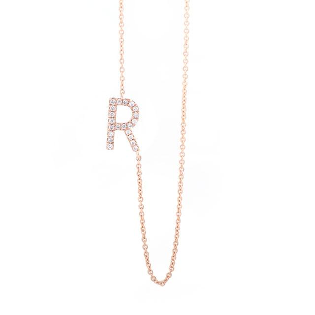 Diamond Letter R Monogram Necklace 14k Rose Gold