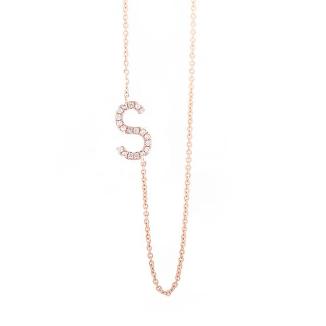 Diamond Letter S Monogram Necklace 14k Rose Gold