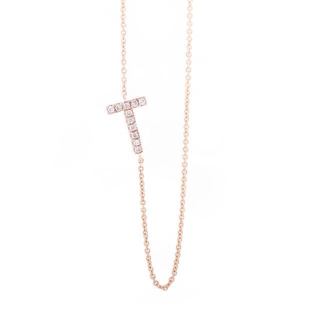 Diamond Letter T Monogram Necklace 14k Rose Gold