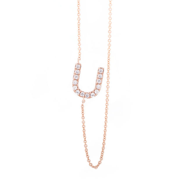 Diamond Letter U Monogram Necklace 14k Rose Gold