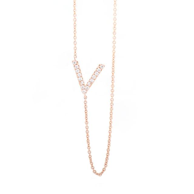 Diamond Letter V Monogram Necklace 14k Rose Gold
