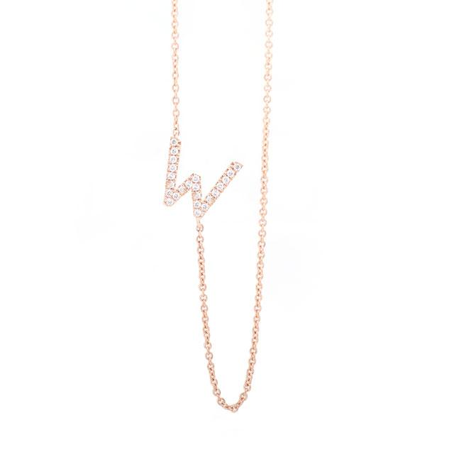 Diamond Letter W Monogram Necklace 14k Rose Gold