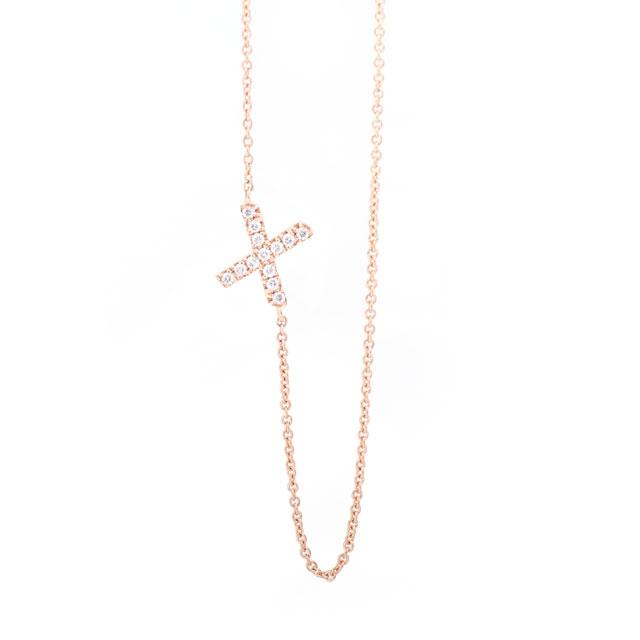 Diamond Letter X Monogram Necklace 14k Rose Gold