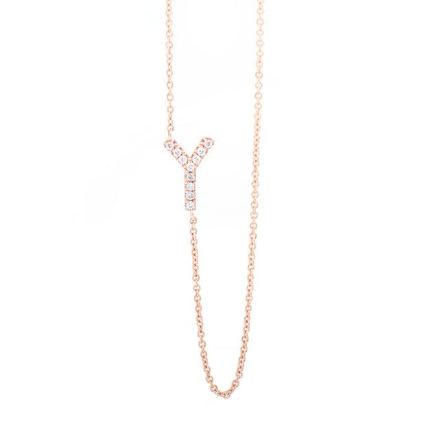 Diamond Letter Y Monogram Necklace 14k Rose Gold