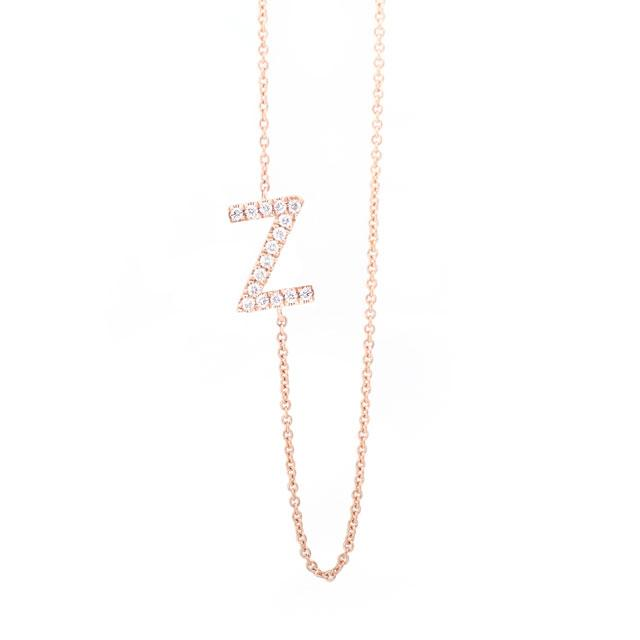 Diamond Letter Z Monogram Necklace 14k Rose Gold
