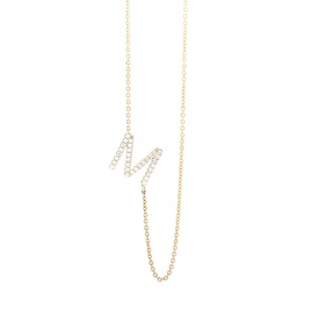 Diamond Letter M Monogram Necklace 14k Yellow Gold