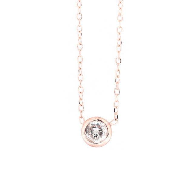 Round Bezel Solitaire Diamond Layering Necklace 14k Rose Gold