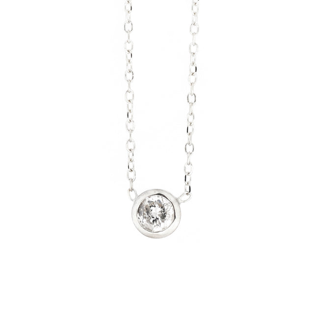 Round Bezel Solitaire Diamond Layering Necklace 14k White Gold