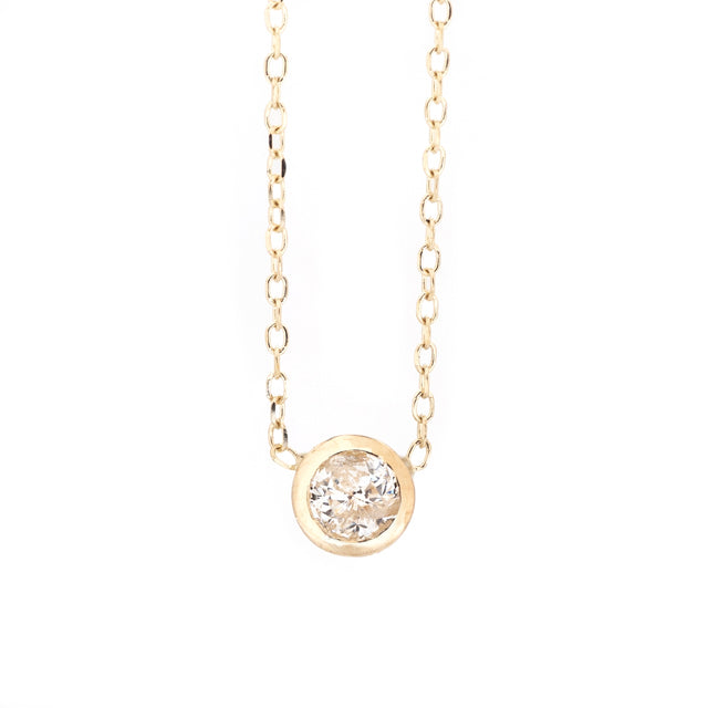 Round Bezel Solitaire Diamond Layering Necklace 14k Yellow Gold