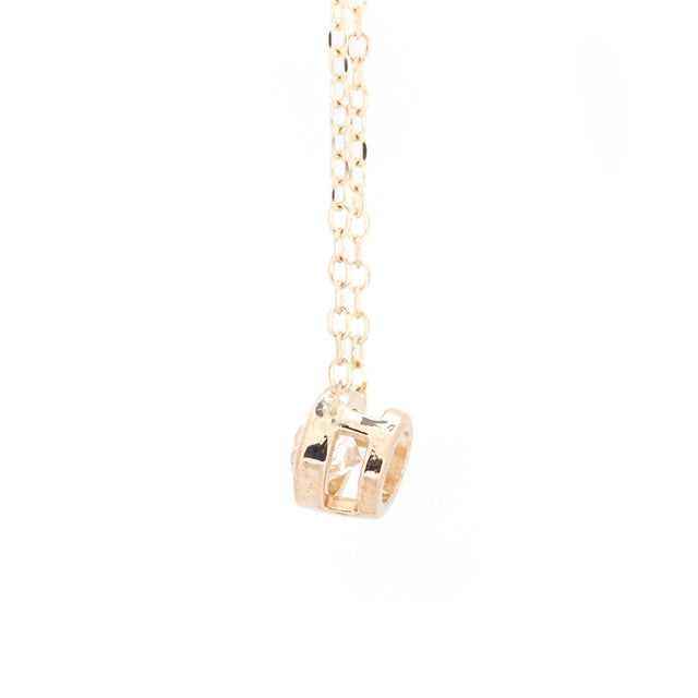 Round Single Diamond Necklace for Layering 2
