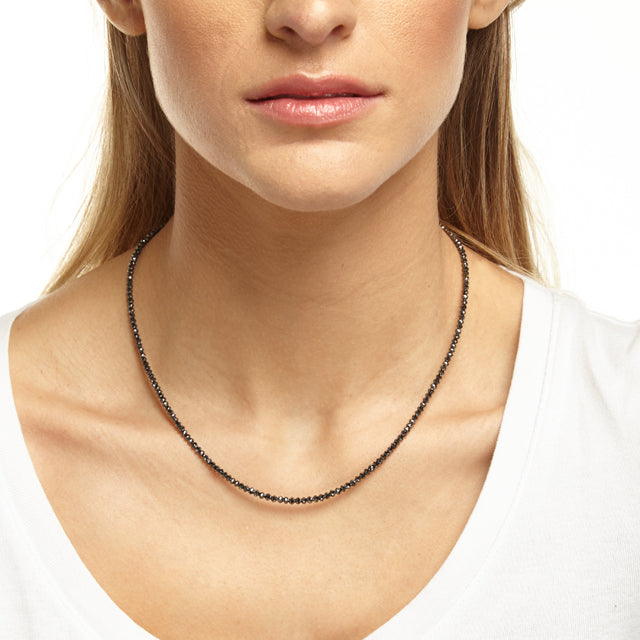Classic Black Diamond Necklace for Layering 2