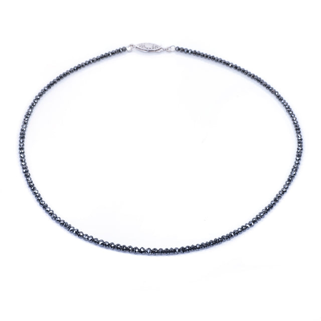 22ct Black Diamond Bead Necklace 14k White Gold