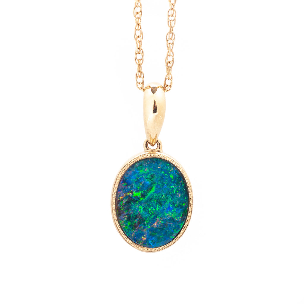 Oval Opal Doublet Pendant 14k Yellow Gold