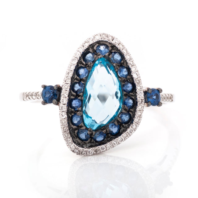 Blue Topaz and Diamond Sapphire Halo Freeform Ring 14k White Gold