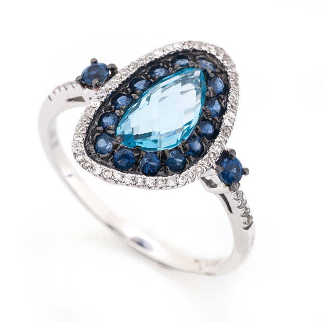 Freeform Sapphire and Topaz Cocktail Ring