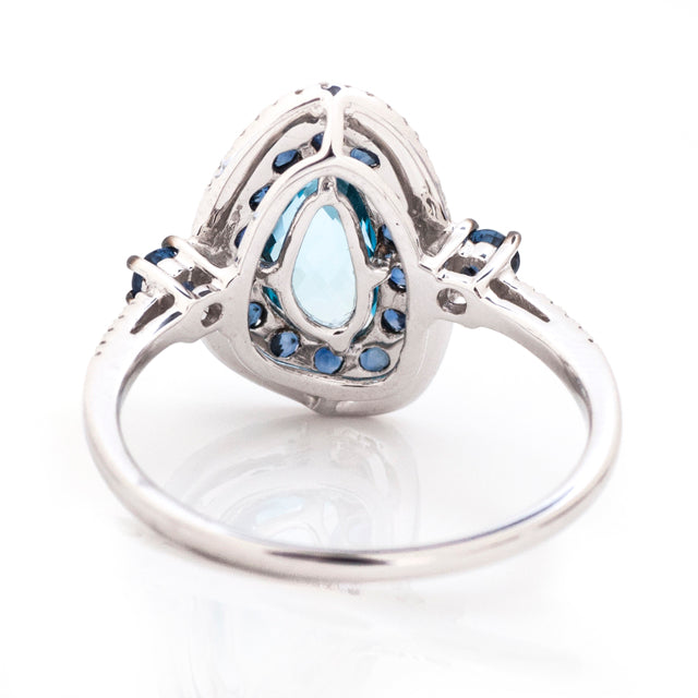 Sapphire and Blue Topaz Bohemian Ring