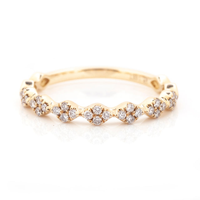 Diamond shaped seven station harlequin stackable ring 14k yellow gold