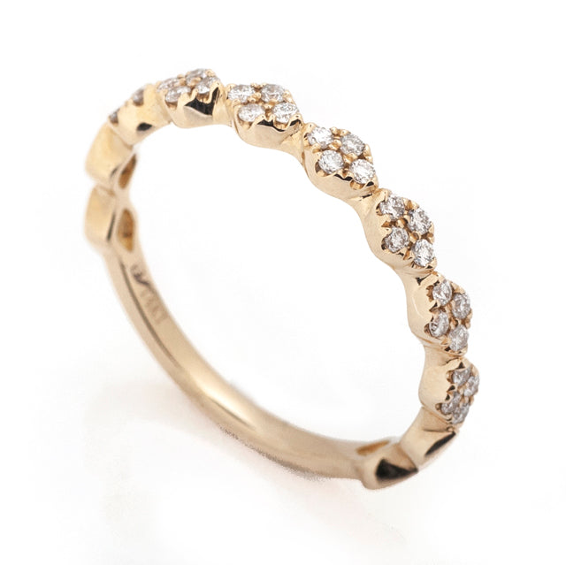 Diamond harlequin stackable ring 14k yellow gold