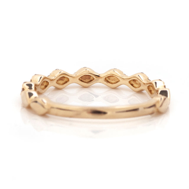 Diamond harlequin stackable band yellow gold